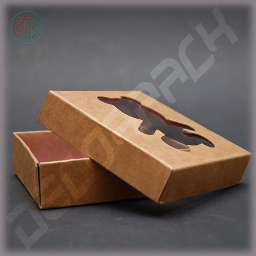 Коробка 100*100*30 мм, съемная крышка, фигурный вырез окна