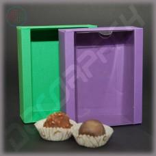 Коробка 110(110)*90(70)*35 мм  (с прозрачной крышкой, дизайнерский картон)