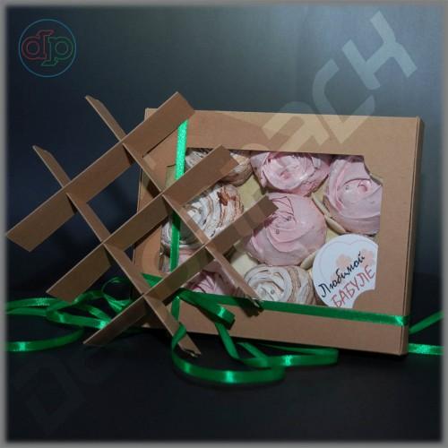 Коробка для конфет (c прямоугольным окном, крафт) 200*160*35 мм