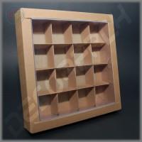 Коробка 190(160)*190(160)*35 мм (крафт) с прозрачной крышкой и комплектом разделителей на 16 изделий