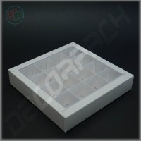 Коробка 190(160)*190(160)*35 мм с прозрачной крышкой и комплектом разделителей на 16 изделий