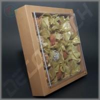 Коробка 190(160)*190(160)*35 мм (крафт) с прозрачной крышкой, без разделителей