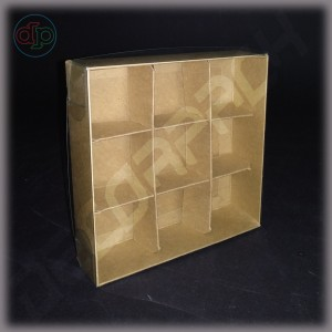 Коробка  120*120*35 мм с прозрачной крышкой и комплектом разделителей на 9 изделий