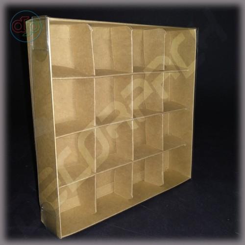 Коробка 160*160*35 мм  с прозрачной крышкой и комплектом разделителей на 16 изделий