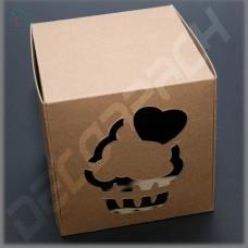 Коробка для капкейка крафт 84*84*90 мм (c окном капкейк)