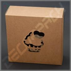 Коробка для 9 капкейков крафт 230*230*90 мм