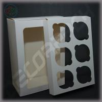 Коробка для 6 капкейков с окном белая 230*160*90 мм