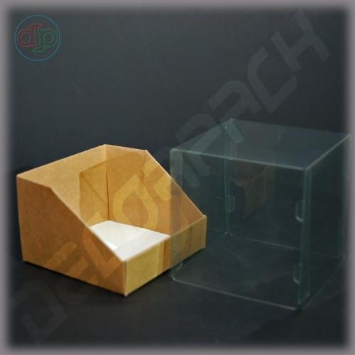 Коробка 100*100*100 мм  (трапеция, с прозрачной крышкой внутрь)