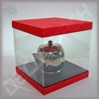 Коробка-аквариум для упаковки подарков 200*200*200 мм красная