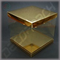 Коробка-аквариум для упаковки подарков 200*200*200 мм золотая