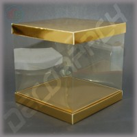 Коробка-аквариум для упаковки подарков 200*200*250 мм золотая