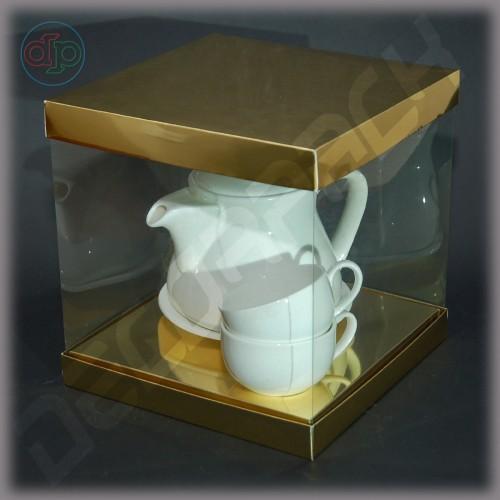 Коробка-аквариум для упаковки подарков 200*200*200 мм картон дизайнерский