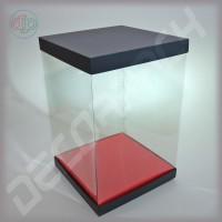 Коробка-аквариум для упаковки подарков 200*200*400 мм черная
