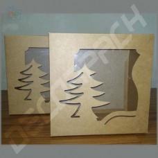 Коробка для подарка с окном (Ёлка, крафт) 200*200*100 мм