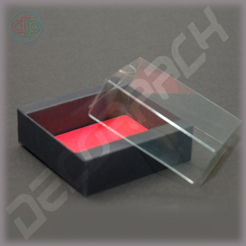 Коробка 80*80(60)*25 мм  (с прозрачной крышкой, дизайнерский картон)