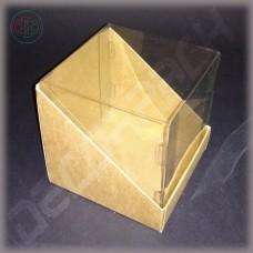 Коробка 90*90*90 мм  (трапеция, с прозрачной крышкой внутрь)