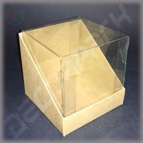 Коробка 90*90*90 мм  (трапеция, с прозрачной крышкой-купол)