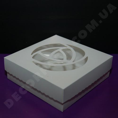 Коробка 150*150*50 мм  (c окном Rose, белая)