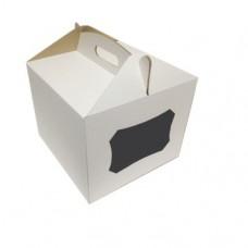 Коробка для торта (c окном, микрогофрокартон) 220x220x200 мм