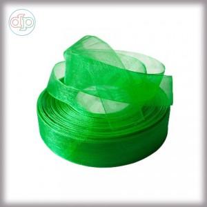 Лента из органзы зеленая 2 см