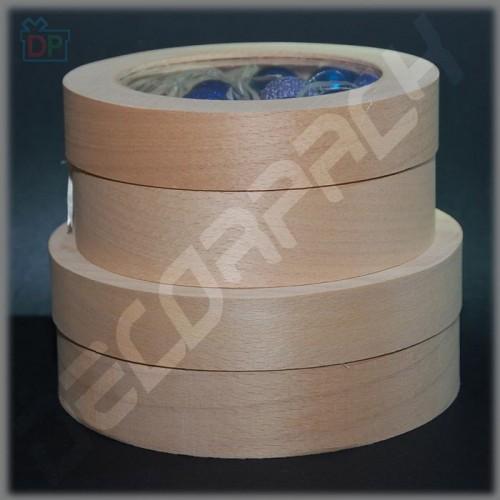 Коробка (тубус) из шпона с прозрачной крышкой 145Х60 мм